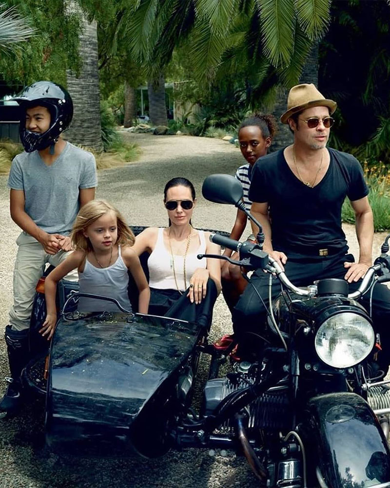 Brad Pitt and Angelina Jolie together with their kids, family photo