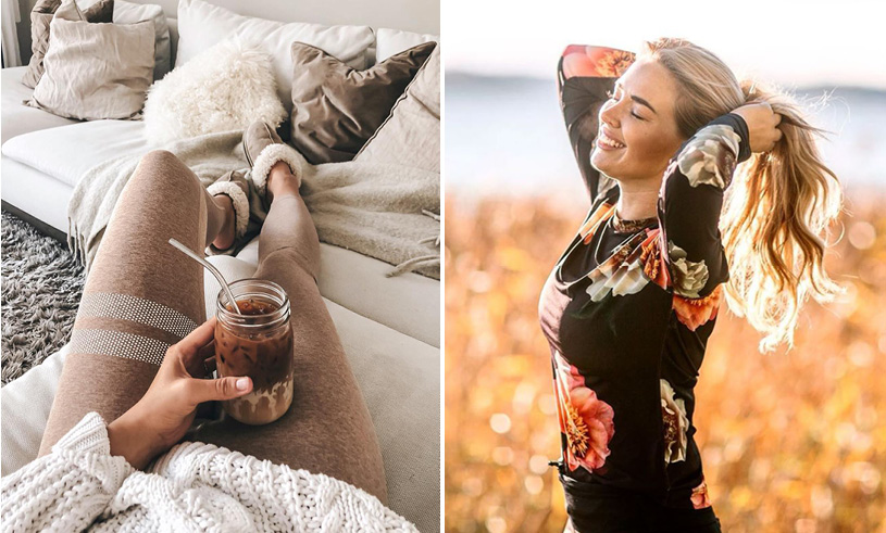 Drinking coffee and girl on field