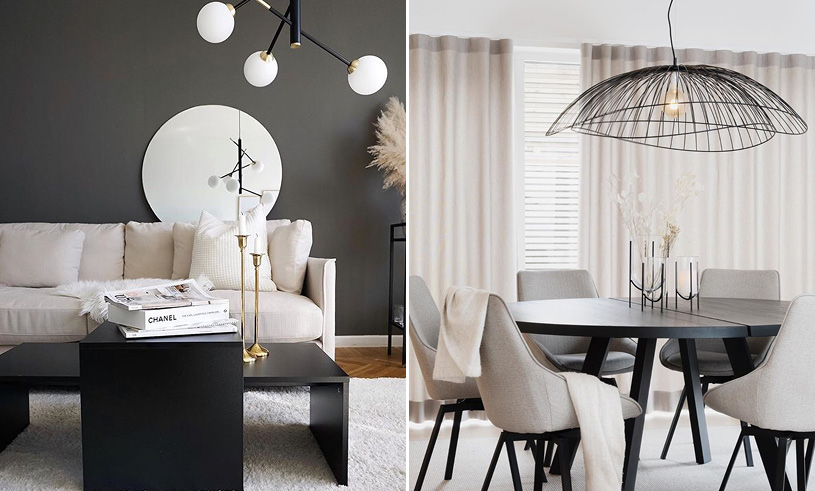 White and black interior lamps sofa table
