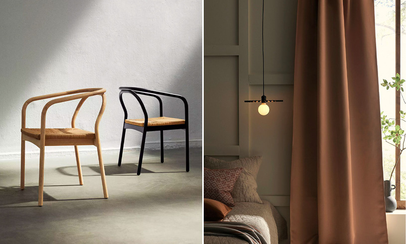 Two pictures one whit two chairs in wood and black and one picture of curtains and a lamp