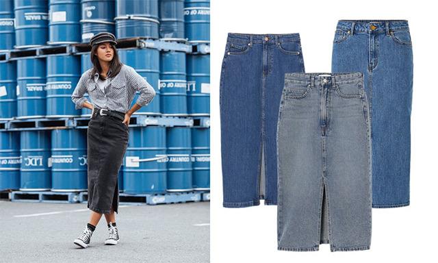 20 trendiga midi-jeanskjolar att satsa på hösten 2020