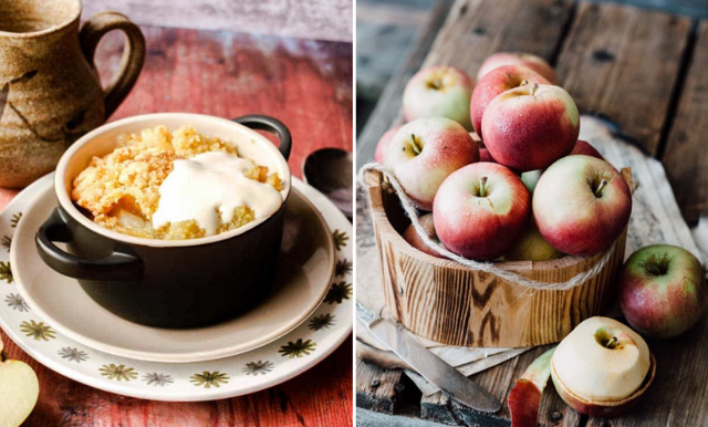 Nyttiga äppelsmulpaj med vaniljsås