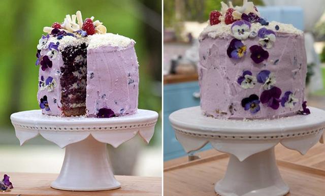 Ljuvlig sommartårta med smak av viol och söta hallon