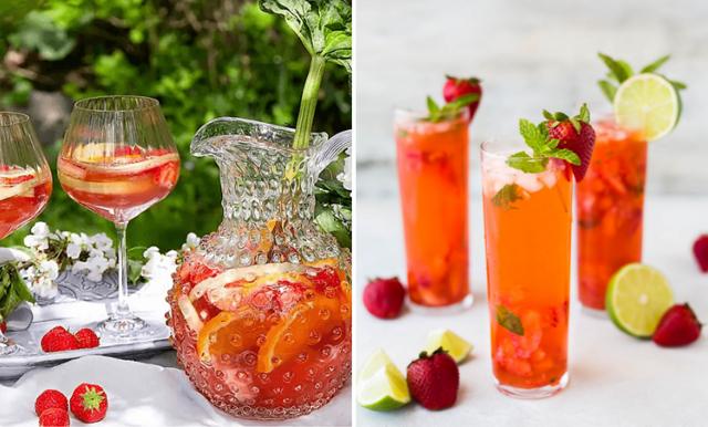 Somrig rosésangria med rabarber och jordgubbar