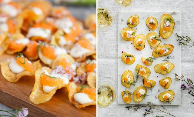 Enkla och lyxiga snacks räddar helgen – chips toppade med löjrom
