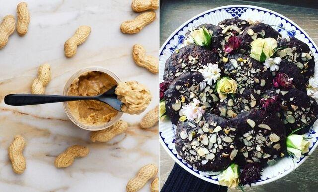 Nyttiga kakor med jordnötssmör, choklad och mandel/pistage