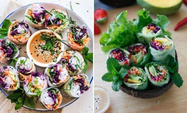 Lättlagade asiatiska vårrullar med jordnötssås