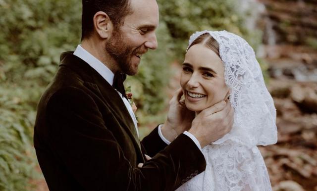 Lily Collins (Emily in Paris) har gift sig – spana in de vackra bilderna