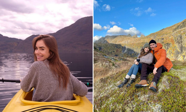 Lily Collins (Emily in Paris) delar med sig av magiska bilder från bröllopsresan i Skandinavien