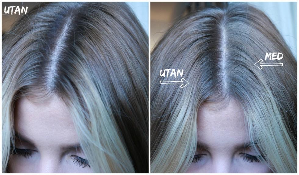 svart hårspray i blont hår