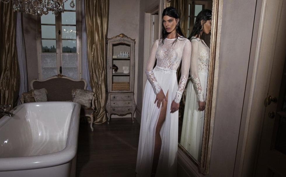 mesh-lace-long-sleeve-and-white-slit-chiffon-wedding-dress-spring-2015
