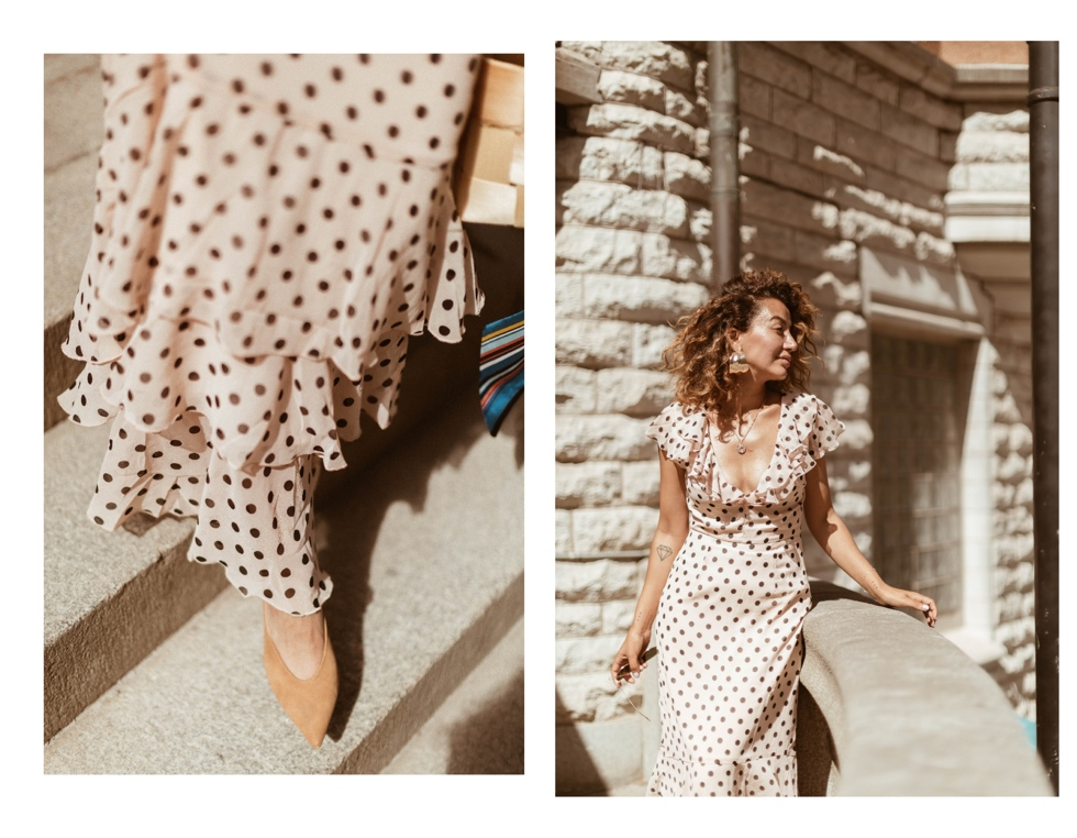 sara-che-frill-dot-maxi-dress-nelly-basket-bag-beck-sondergaard-parfois-heels