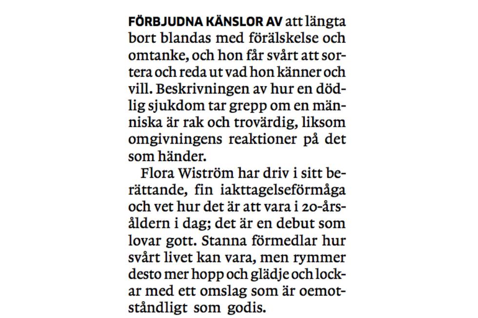 flora wiström stanna recension GP