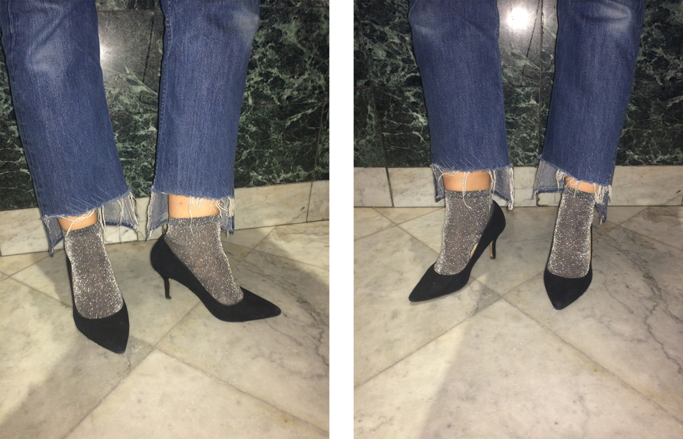 glitter socks in heels