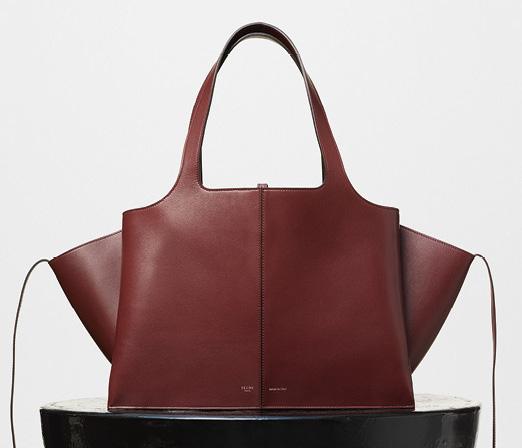 Celine-Tri-Fold-Shoulder-Bag-Burgundy-3400