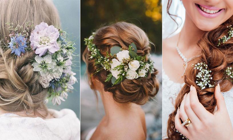 6 finaste bröllopsfrisyrerna 2017 – bohemiskt med blommor i håret